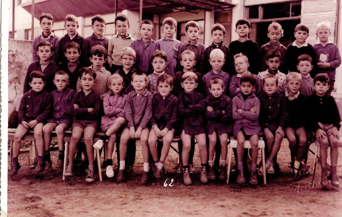 Michael Grant, middle row, left, with glasses, in school in France