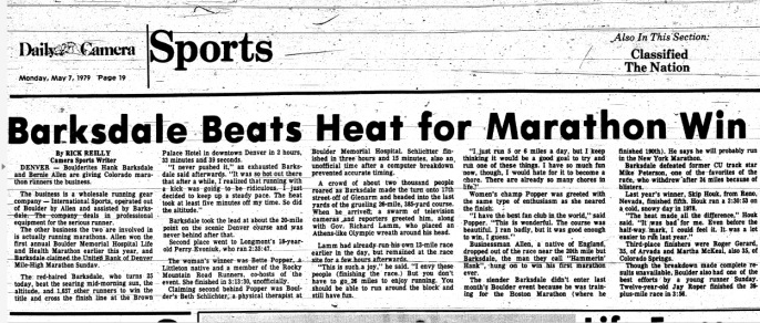 Rick Reilly - Boulder Daily Camera - Barksdale Beats Heat for Marathon Win - 5.7.1979