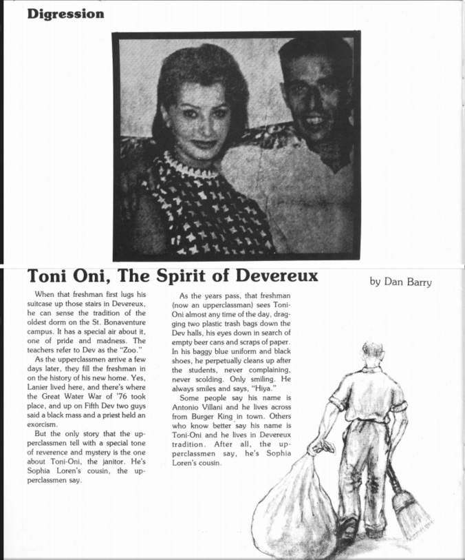 Toni Oni, The Spirit of Devereux - Dan Barry - The Bonaventure Convex, December 1978